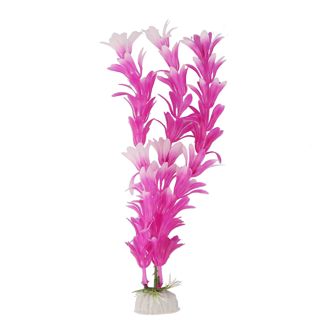 Aquarium Fish Tank Ceramic Base Plastic Artificial Plant Ornament Purple White