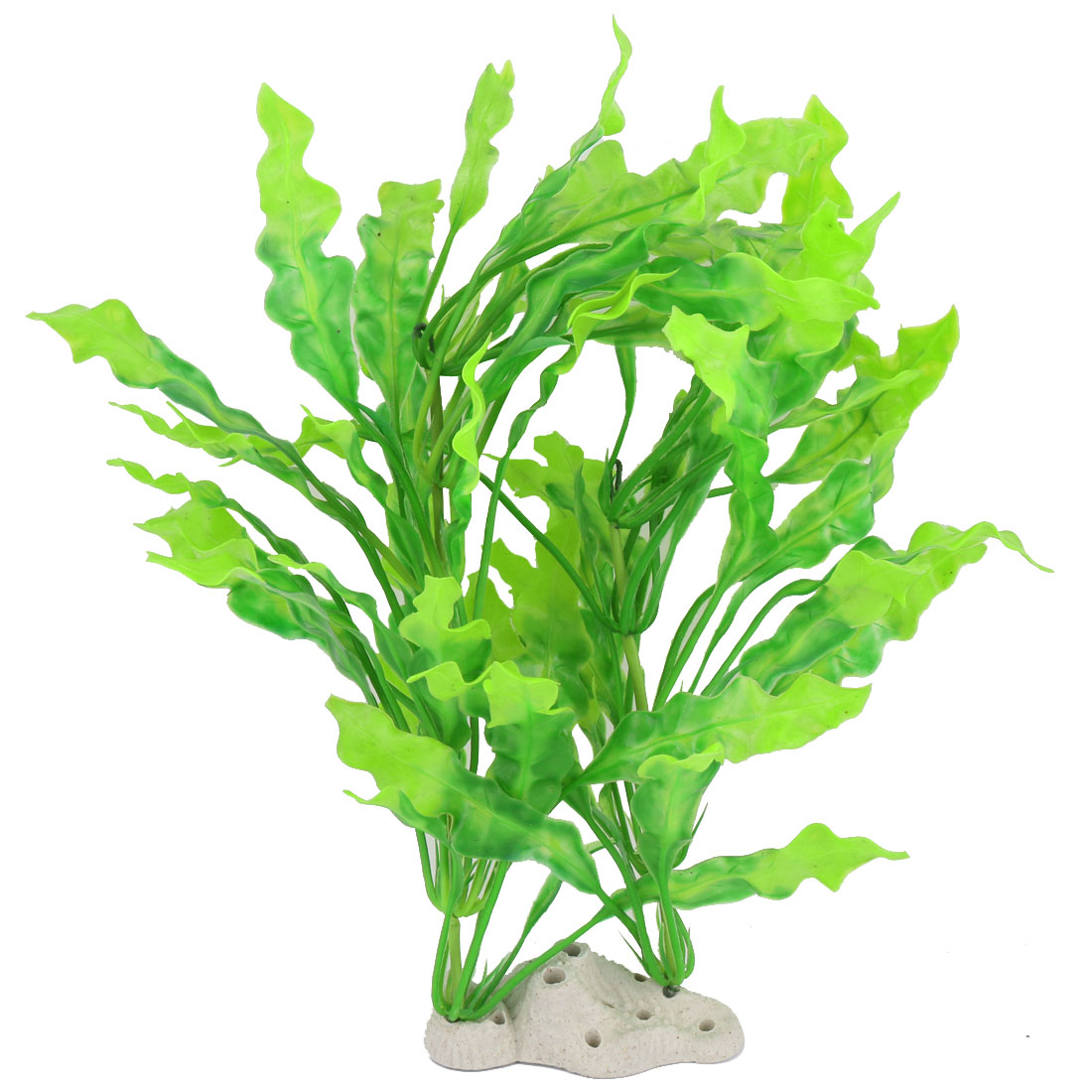 Aquarium Ceramic Base Plastic Artificial Landscape Plant Grass Decor White Green