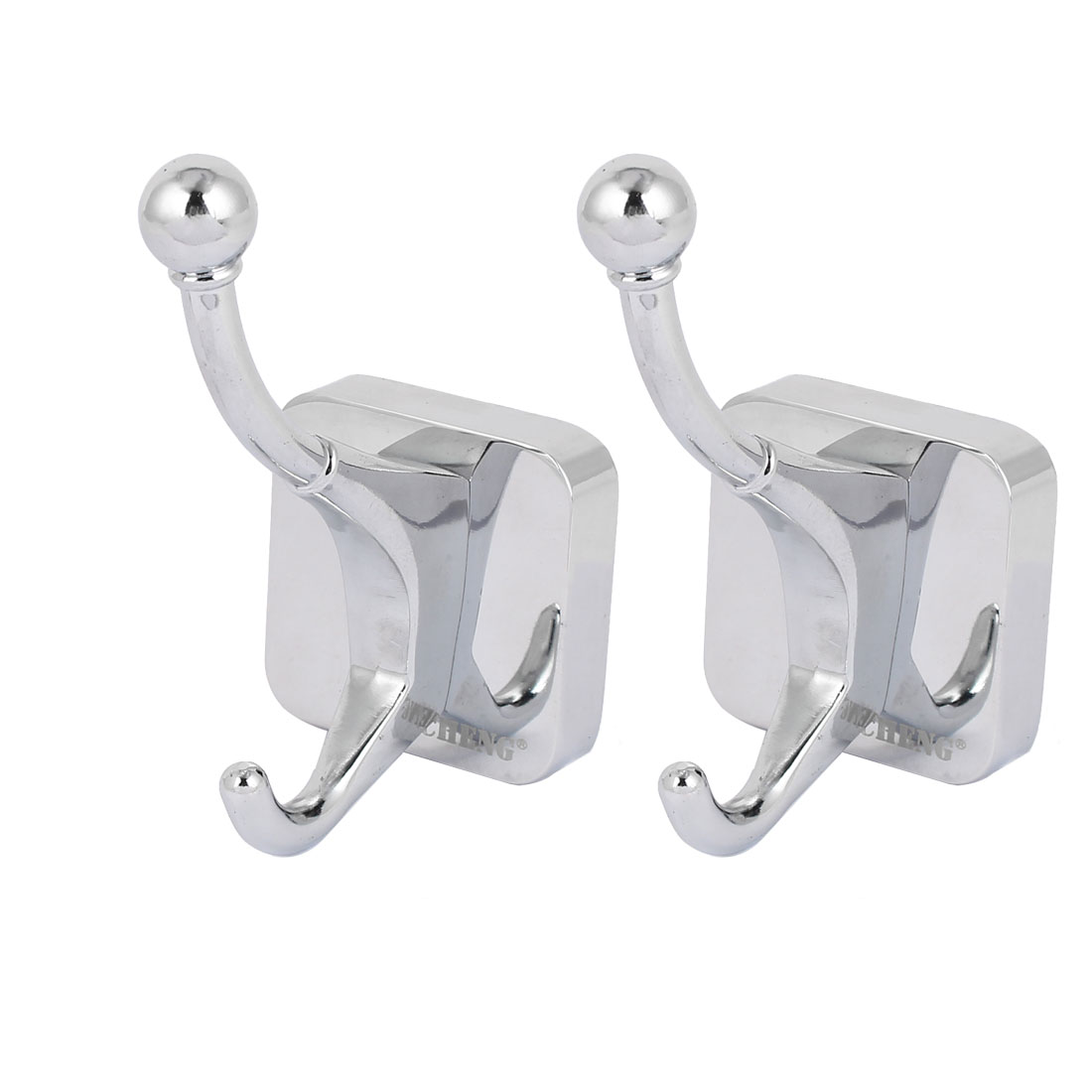 Bedroom Robe Hat Hanging Wall Mounted Zinc Alloy Chrome Plated Double Hanger Hook Silver Tone 2pcs