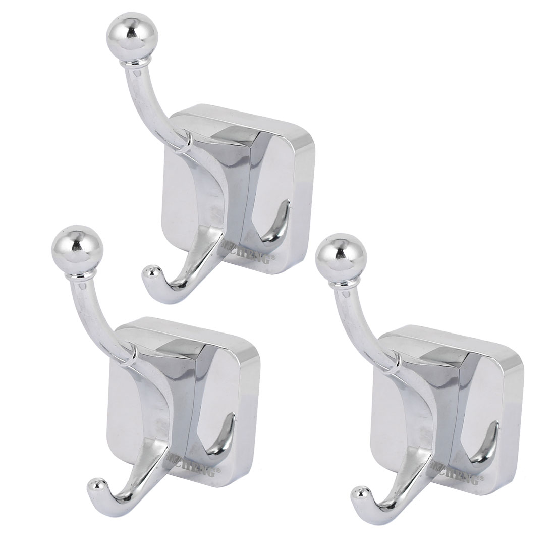 50mm x 50mm Square Bottom Wall Mounted Clothes Hat Double Hook Hanger 3pcs