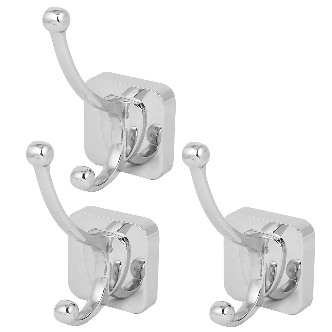 Bedroom Clothes Hanging Wall Mounted Zinc Alloy Chrome Plated Double Hanger Hook Silver Tone 3pcs