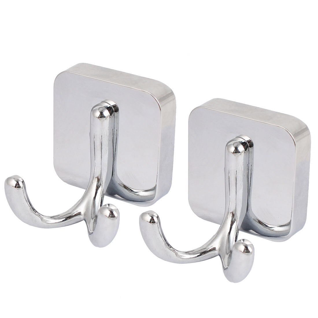 Bathroom Robe Hat Hanging Wall Mounted Zinc Alloy Chrome Plated Double Hanger Hook Silver Tone 2pcs
