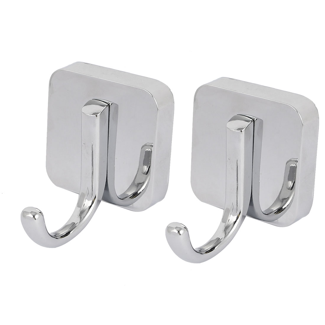 Bathroom Clothes Hanging Wall Mounted Zinc Alloy Chrome Plated Single Hanger Hook Silver Tone 2pcs