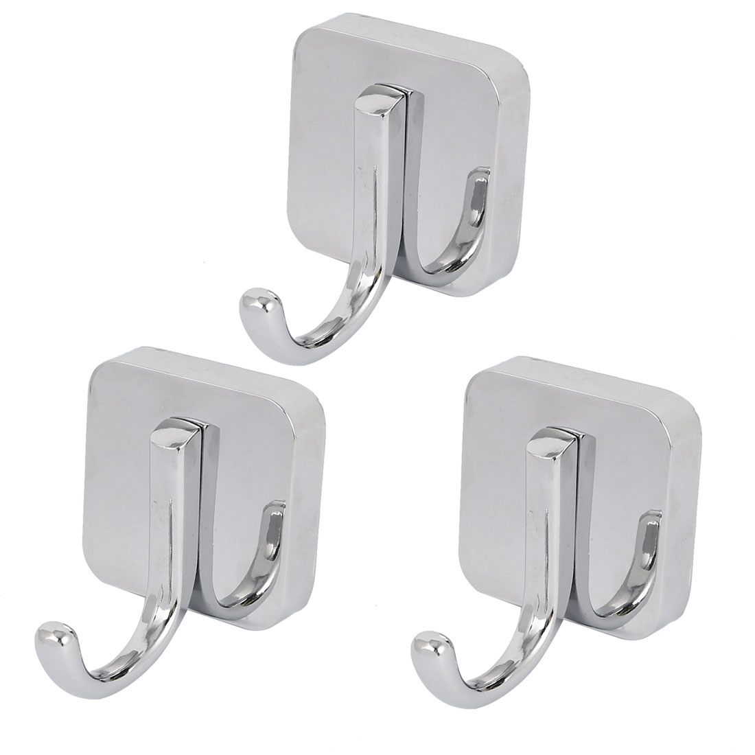Bathroom Clothes Hanging Wall Mounted Zinc Alloy Chrome Plated Single Hanger Hook Silver Tone 3pcs