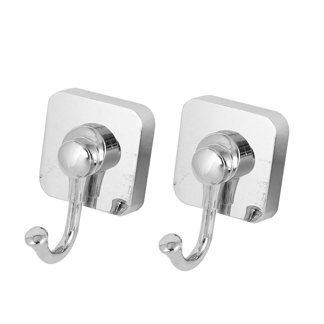 75mm x 50mm Square Bottom Wall Mounted Clothes Hat Single Hook Hanger 2pcs
