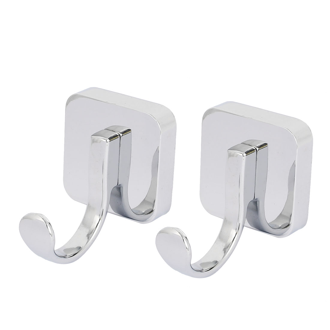 Bedroom Robe Hanging Wall Mounted Zinc Alloy Chrome Plated Single Hanger Hook Silver Tone 2pcs