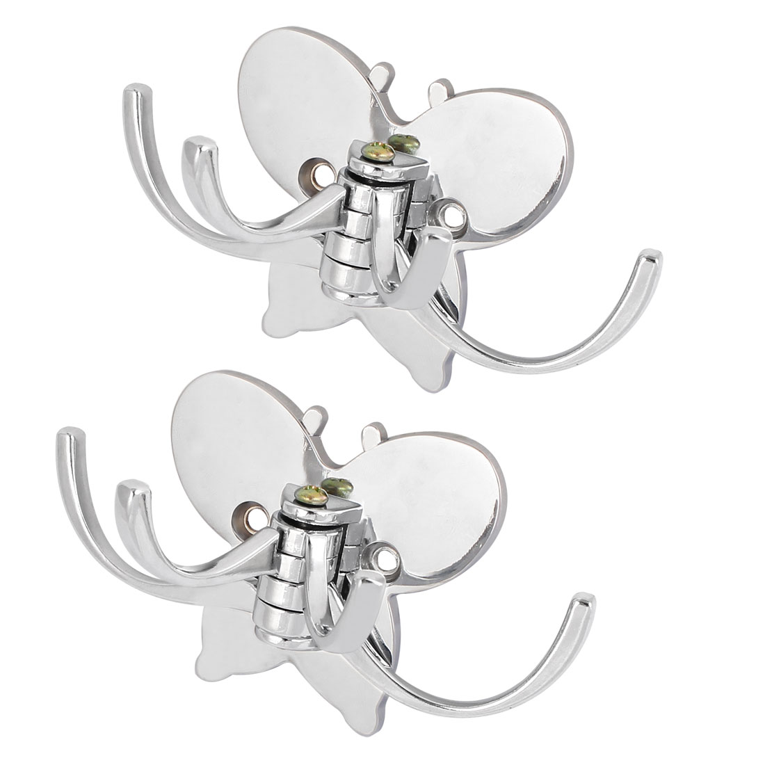 Butterfly Shape Base Foldable Four Hooks Wall Mounted Coat Scarf Hanger 2pcs