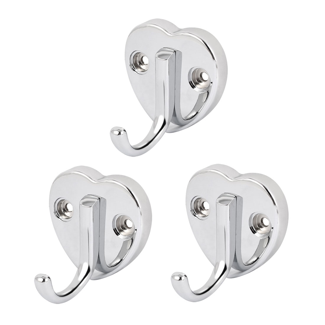 65mm x 60mm Heart Shape Base Wall Mounted Coat Hat Single Hook Hanger 3pcs