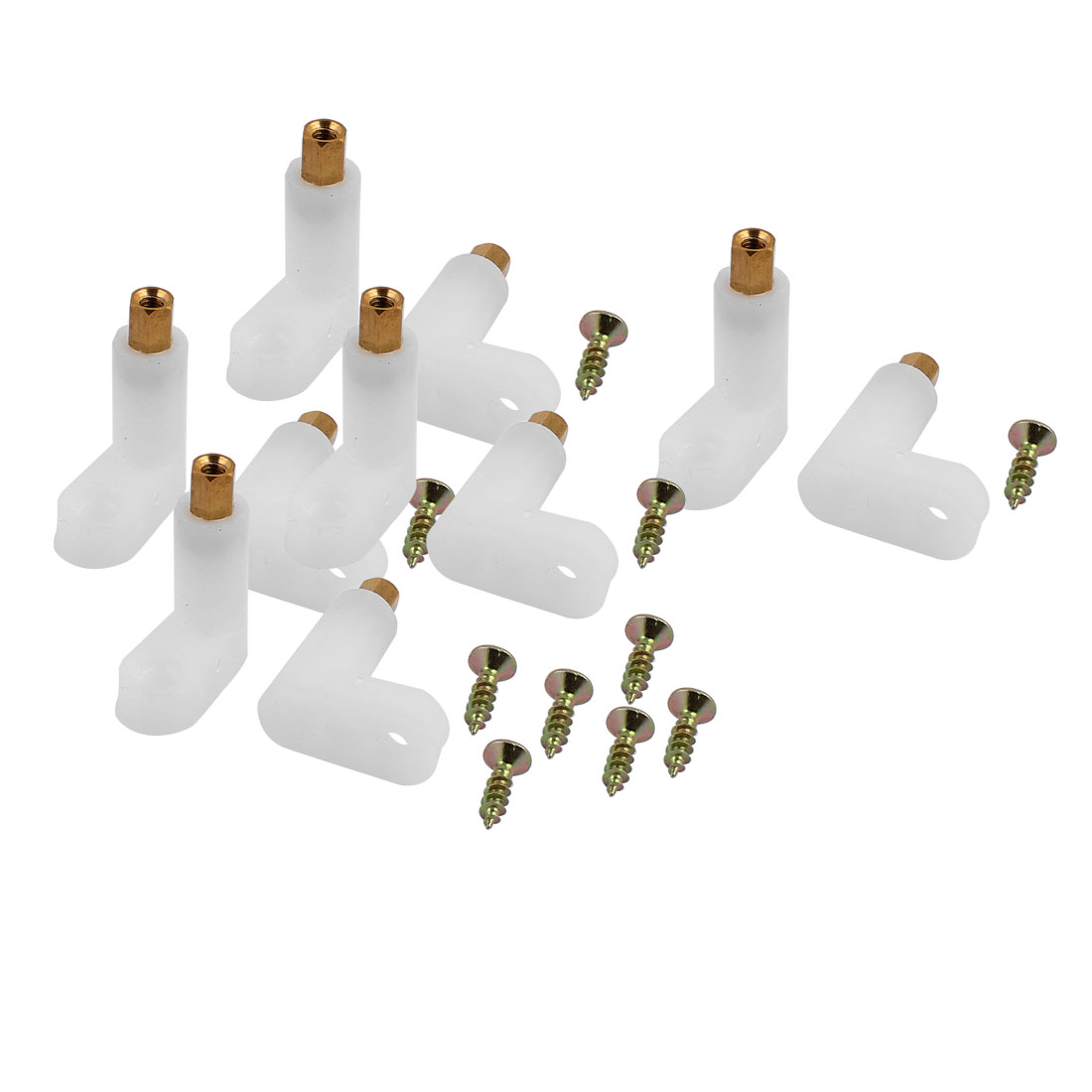 10 Pcs L Shape Insulated PCB Spacer 25mm Supporting Height w Self-Tapping Screw