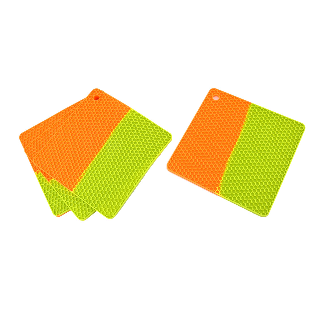 Silicone Square Shaped Honeycomb Pattern Heat Resistant Mat Pad Green Orange 4 Pcs