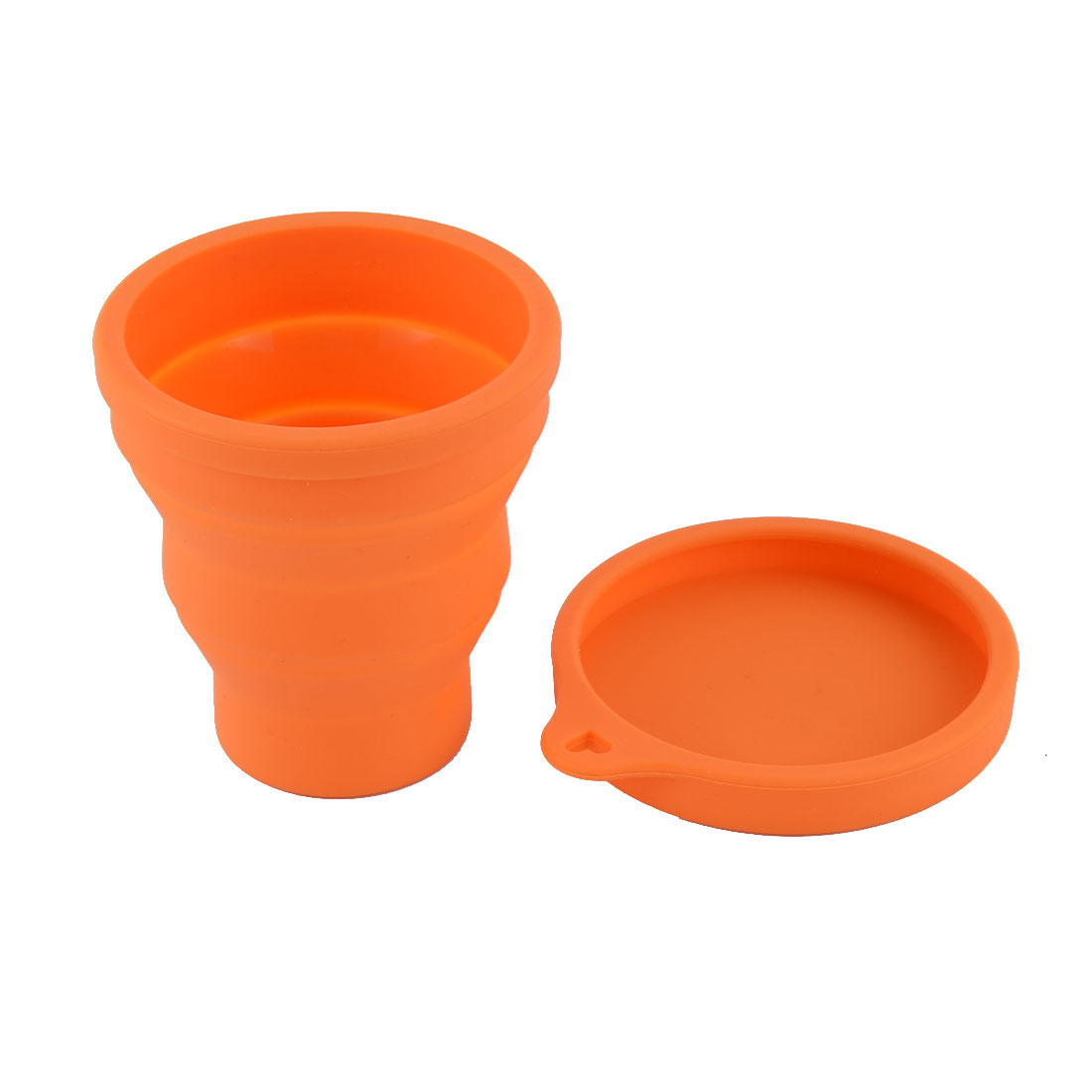 Silicone Travel Camping Portable Folding Telescopic Water Cup Orange 120ML