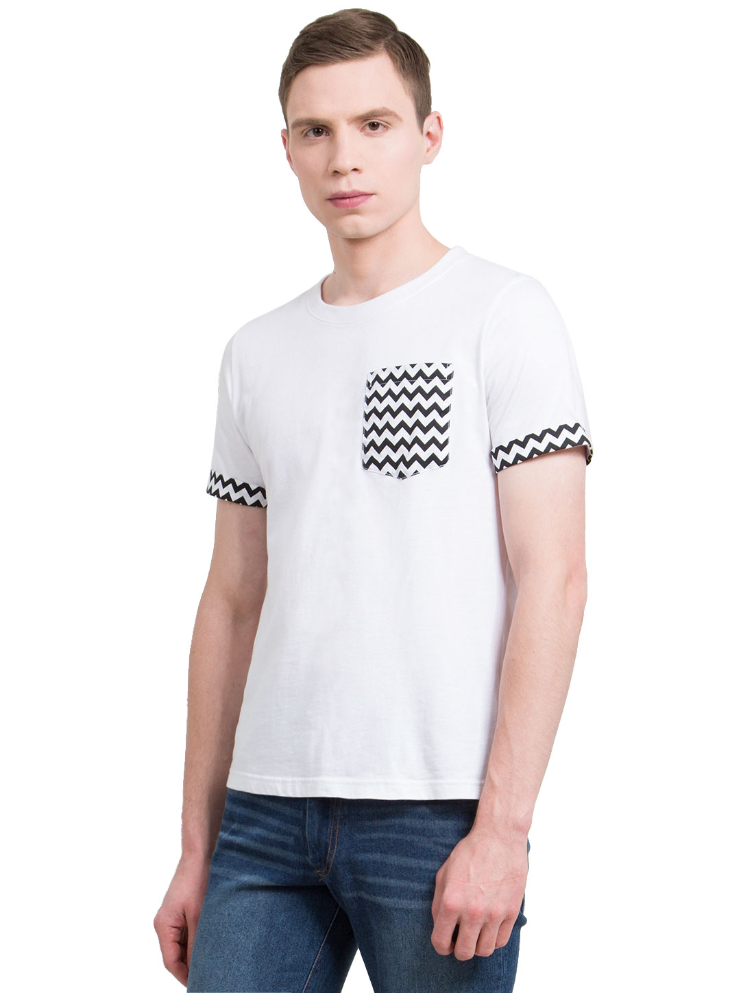 Men Crew Neck Short Sleeves Chevron Print Cotton T-Shirt White M
