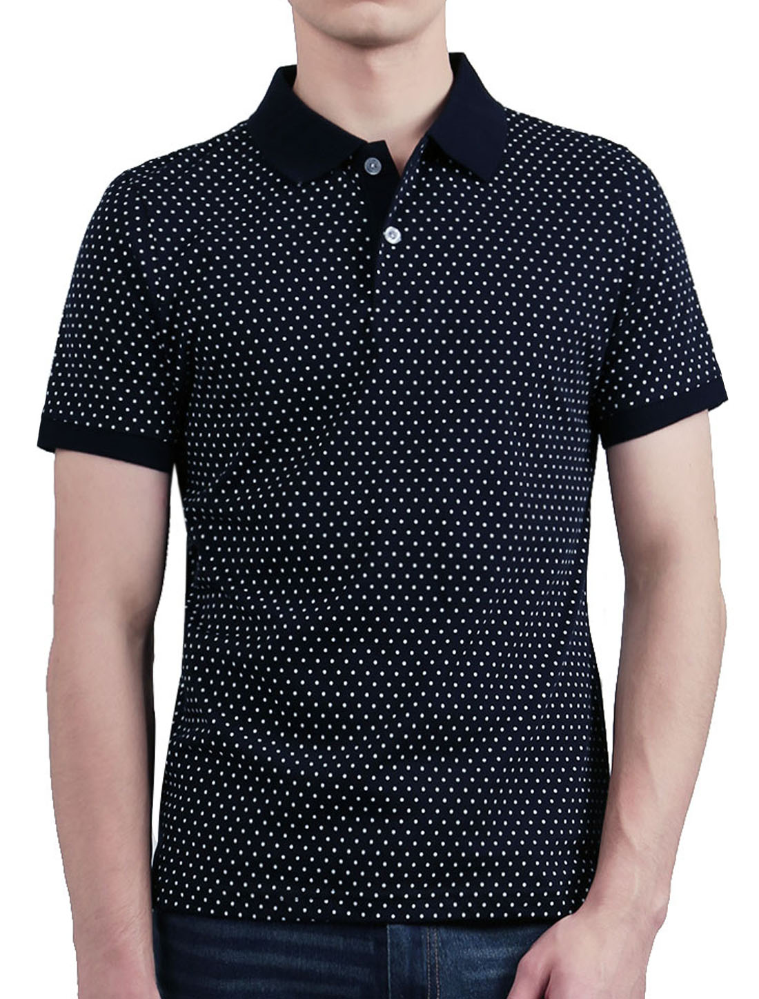 Men Dots Short Sleeves Point Collar Buttoned Polo Shirt Blue L