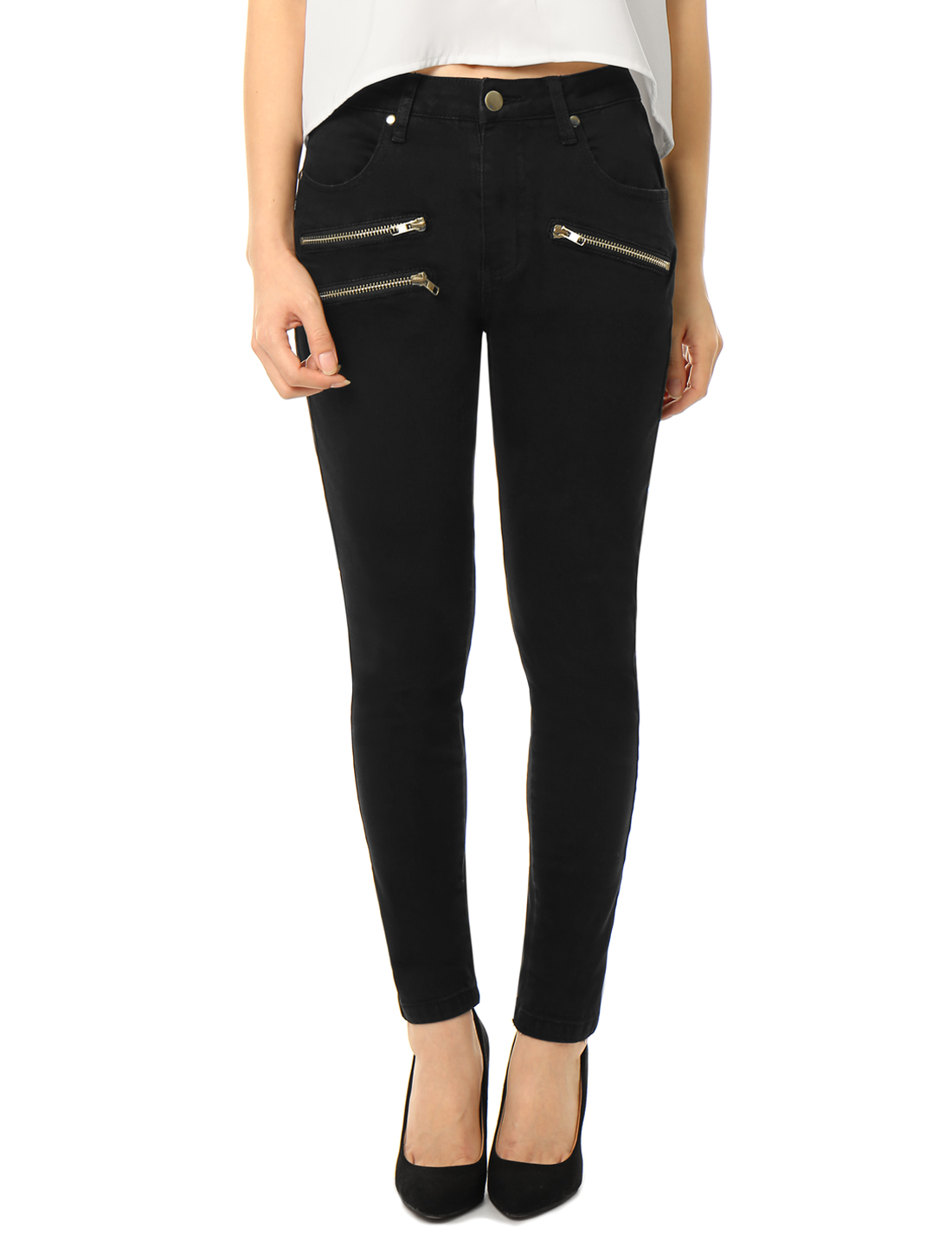 Women Mid Rise Zipper Decor Stretchy Skinny Jeans Black XS
