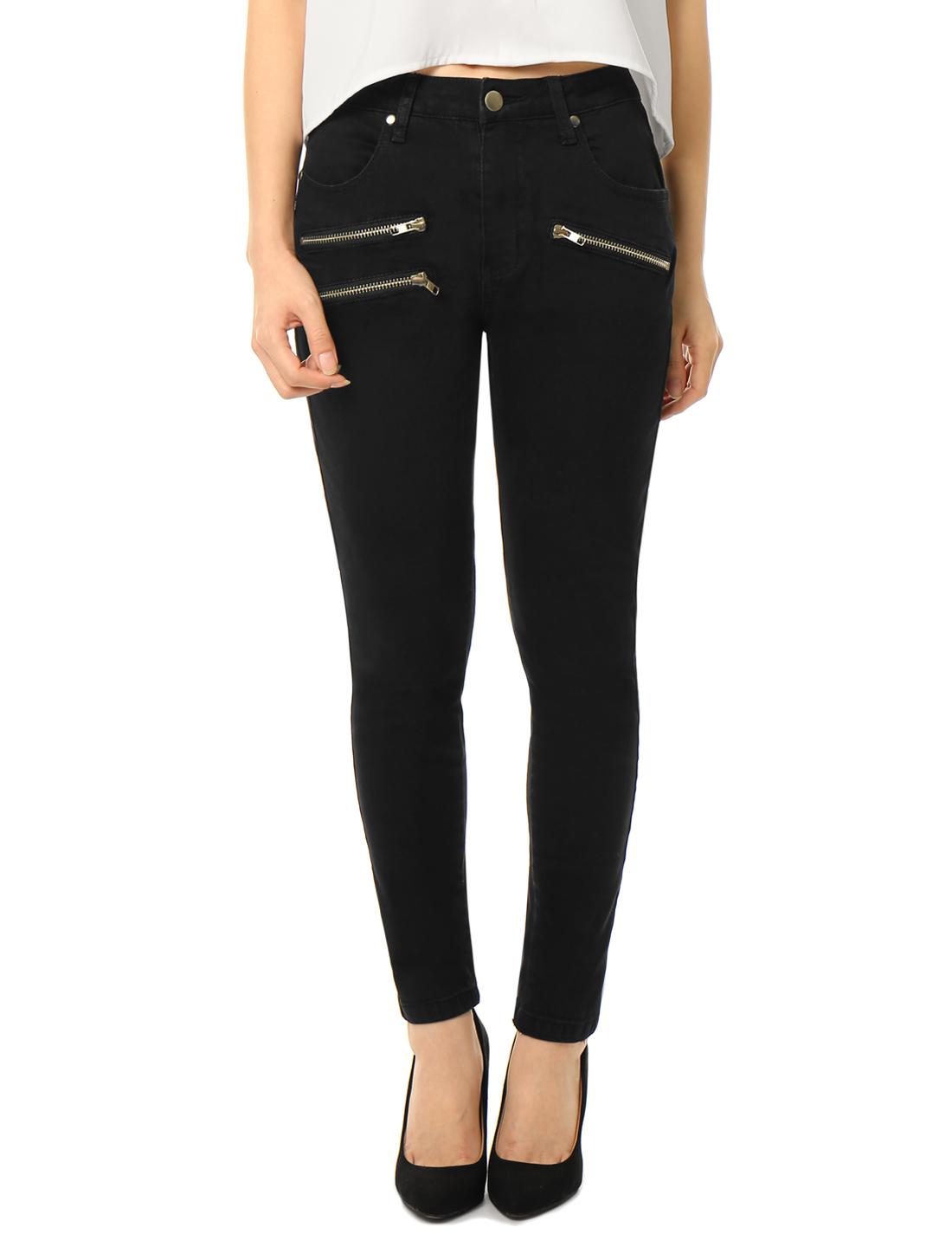 Women Mid Rise Zipper Decor Stretchy Skinny Jeans Black L