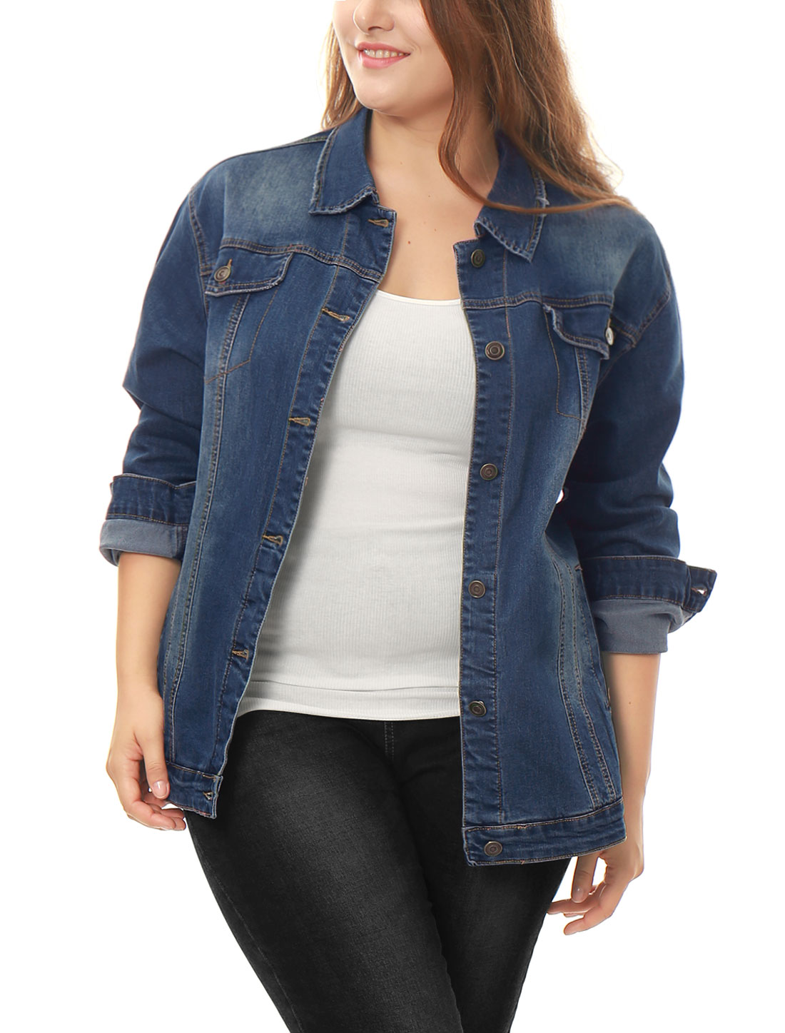 Women Plus Size Stitching Button Front Washed Denim Jacket Blue 2X