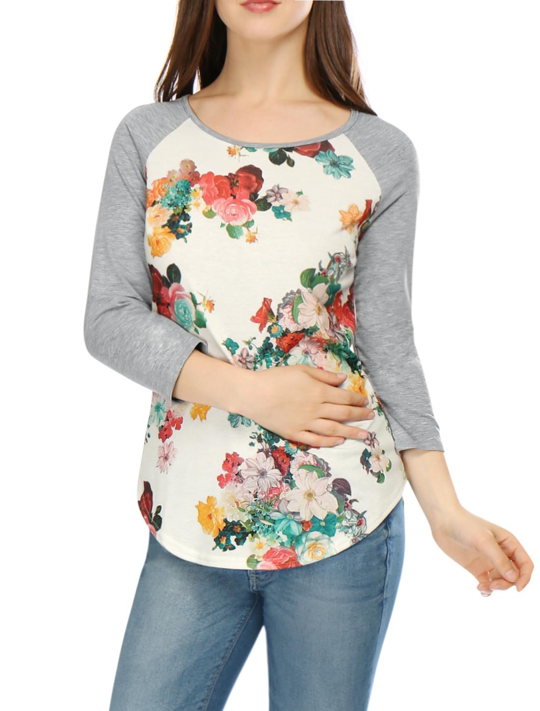 Women Floral Prints 3/4 Raglan Sleeves Tee Shirt White L