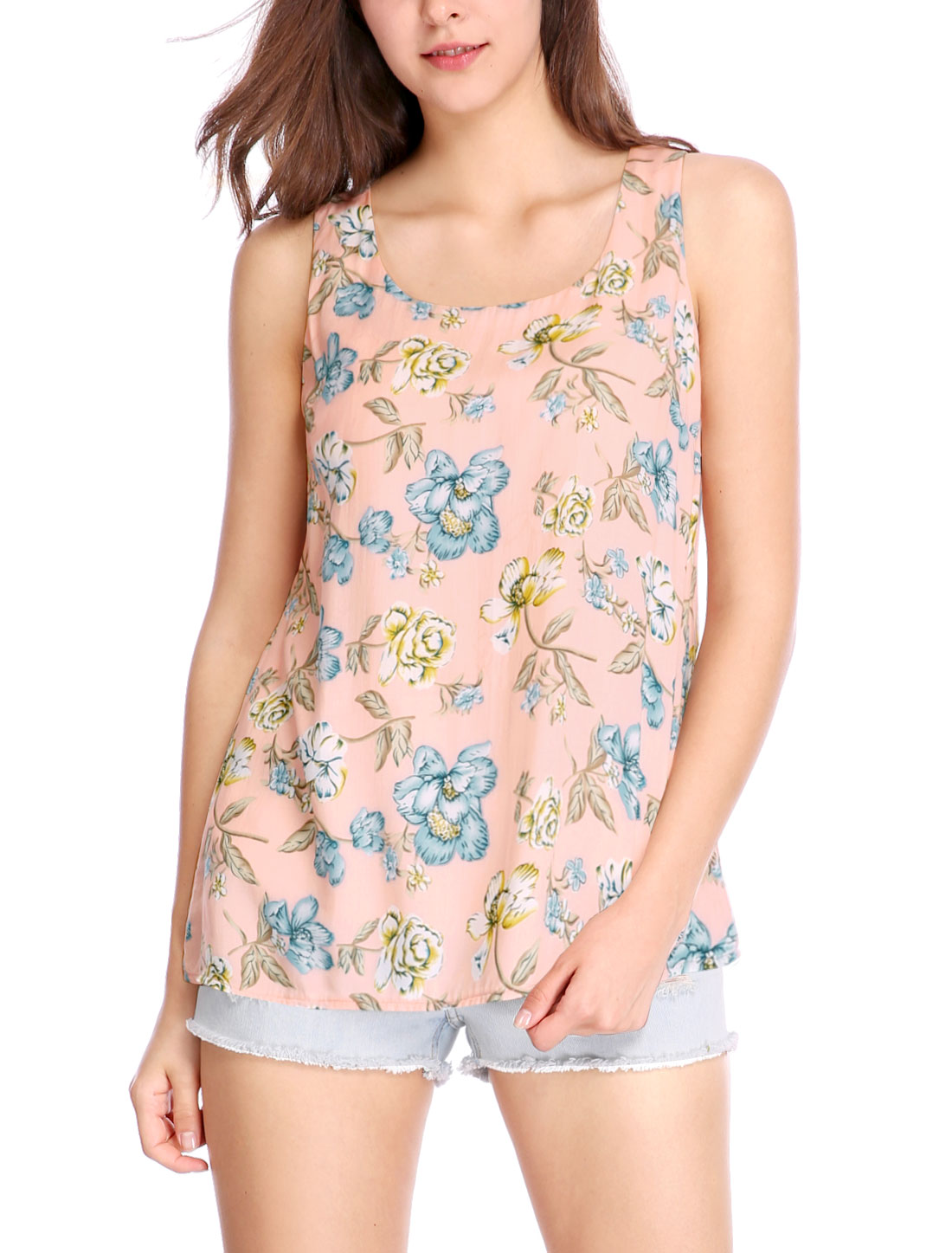 Women Floral Prints Sleeveless Scoop Neck Tank Top Pink XL