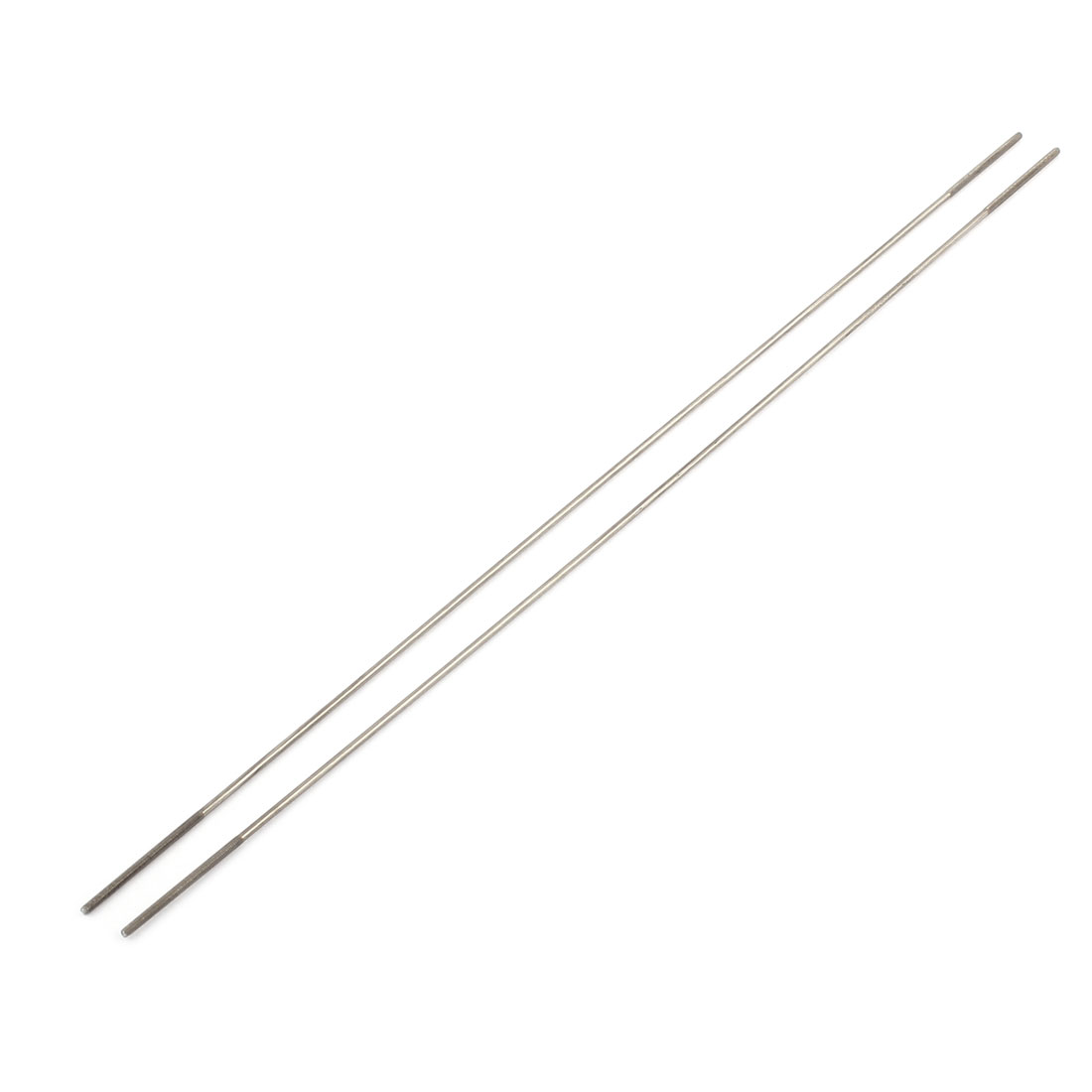2pcs RC Airplane Parts 2mm Dia Threaded Both End Metal Push Rod 300mm Length