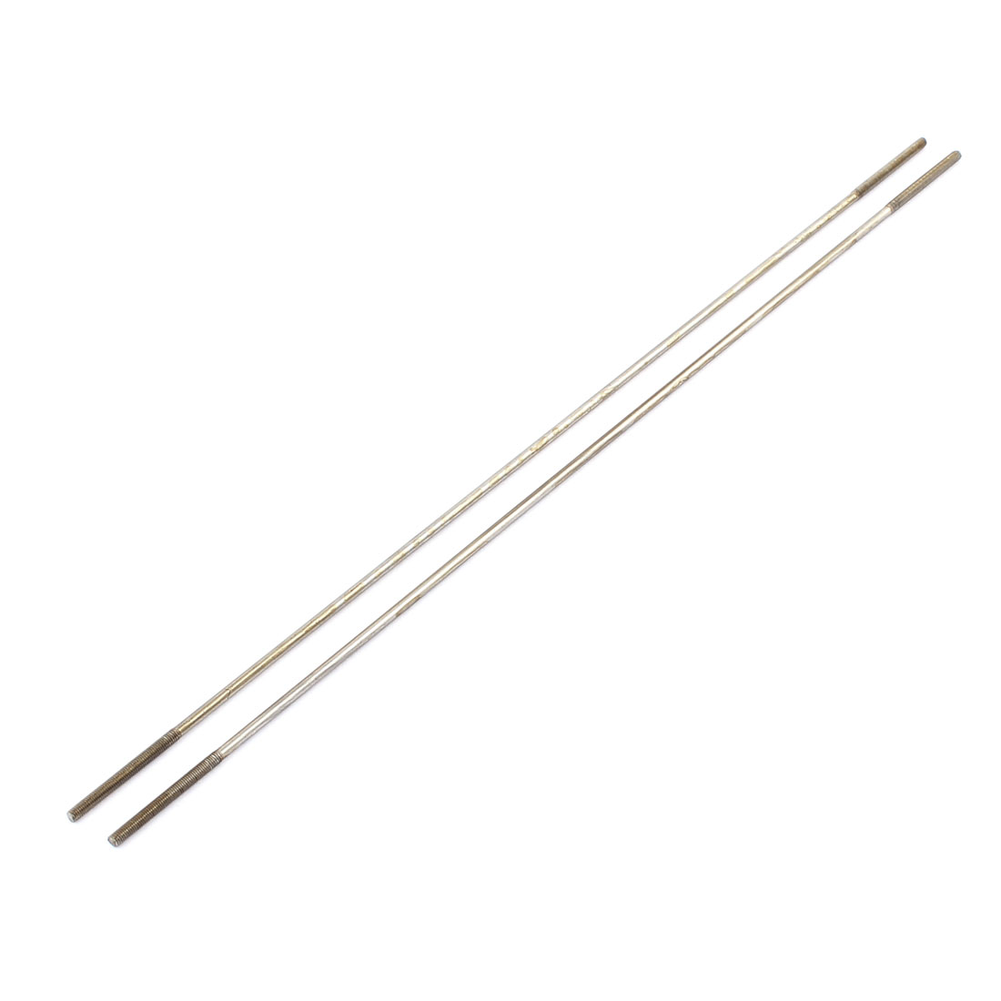 2pcs RC Airplane Parts 3mm Dia Threaded Both End Metal Push Rod 300mm Length