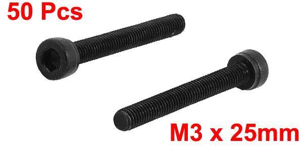 50Pcs Black M3 x 25mm Alloy Steel Hex Bolt Socket Head Cap Machine Screws