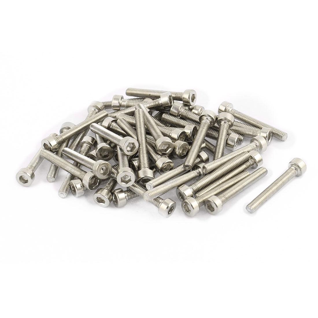 50Pcs Silver Tone M3 x 22mm Stainless Steel Hex Bolt Socket Head Cap Machine Screws