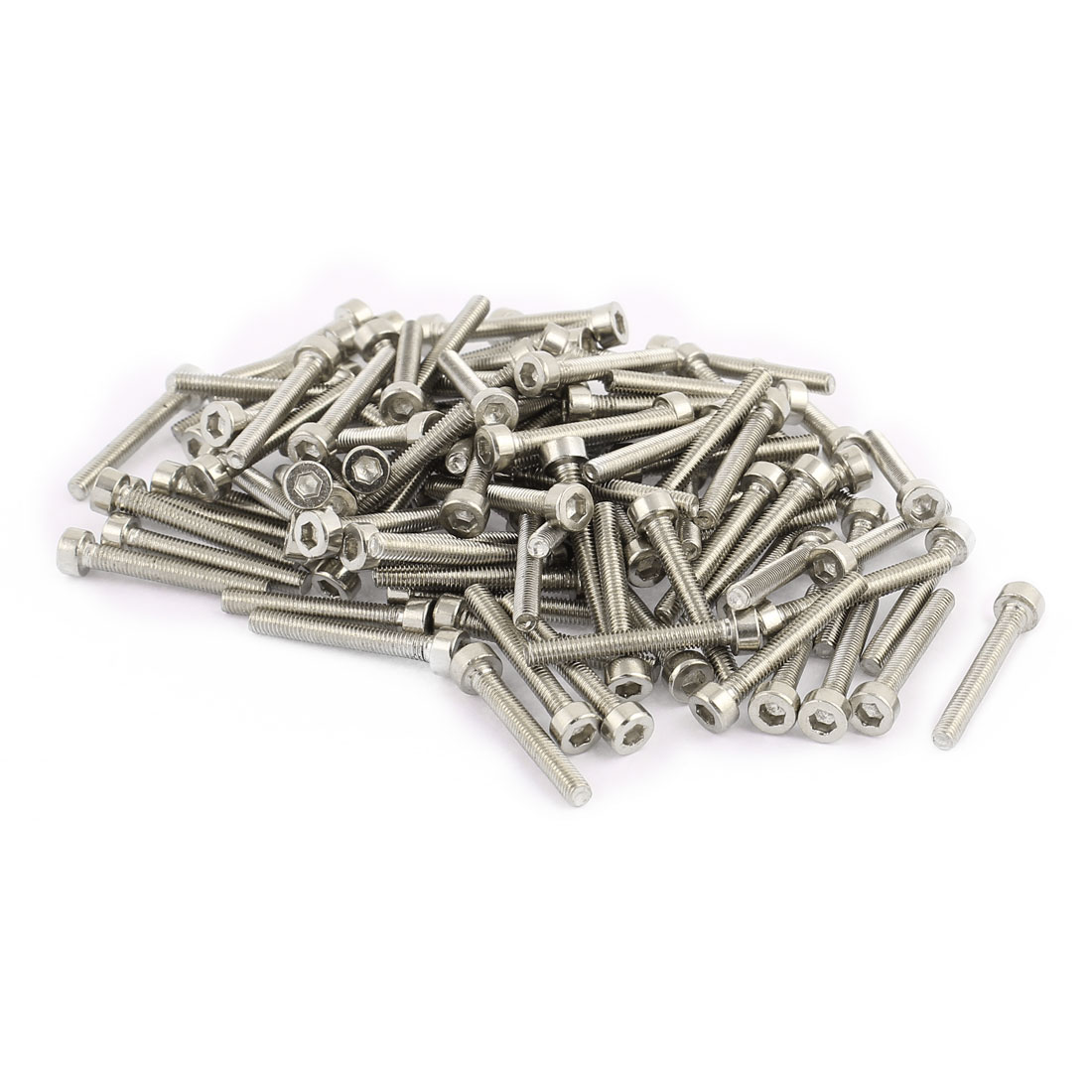 100Pcs Silver Tone M3 x 22mm Stainless Steel Hex Bolt Socket Head Cap Machine Screws