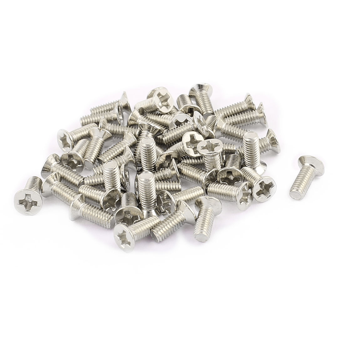 50Pcs M3x8mm 304 Stainless Steel Flat Head Phillips Machine Screws Silver Tone