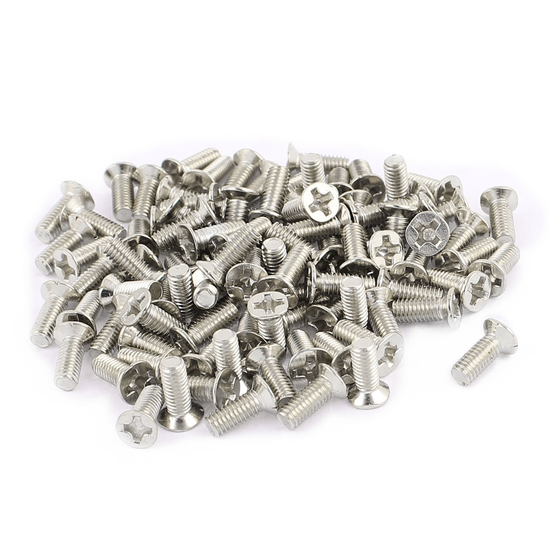 100Pcs M3x8mm 304 Stainless Steel Flat Head Phillips Machine Screws Silver Tone