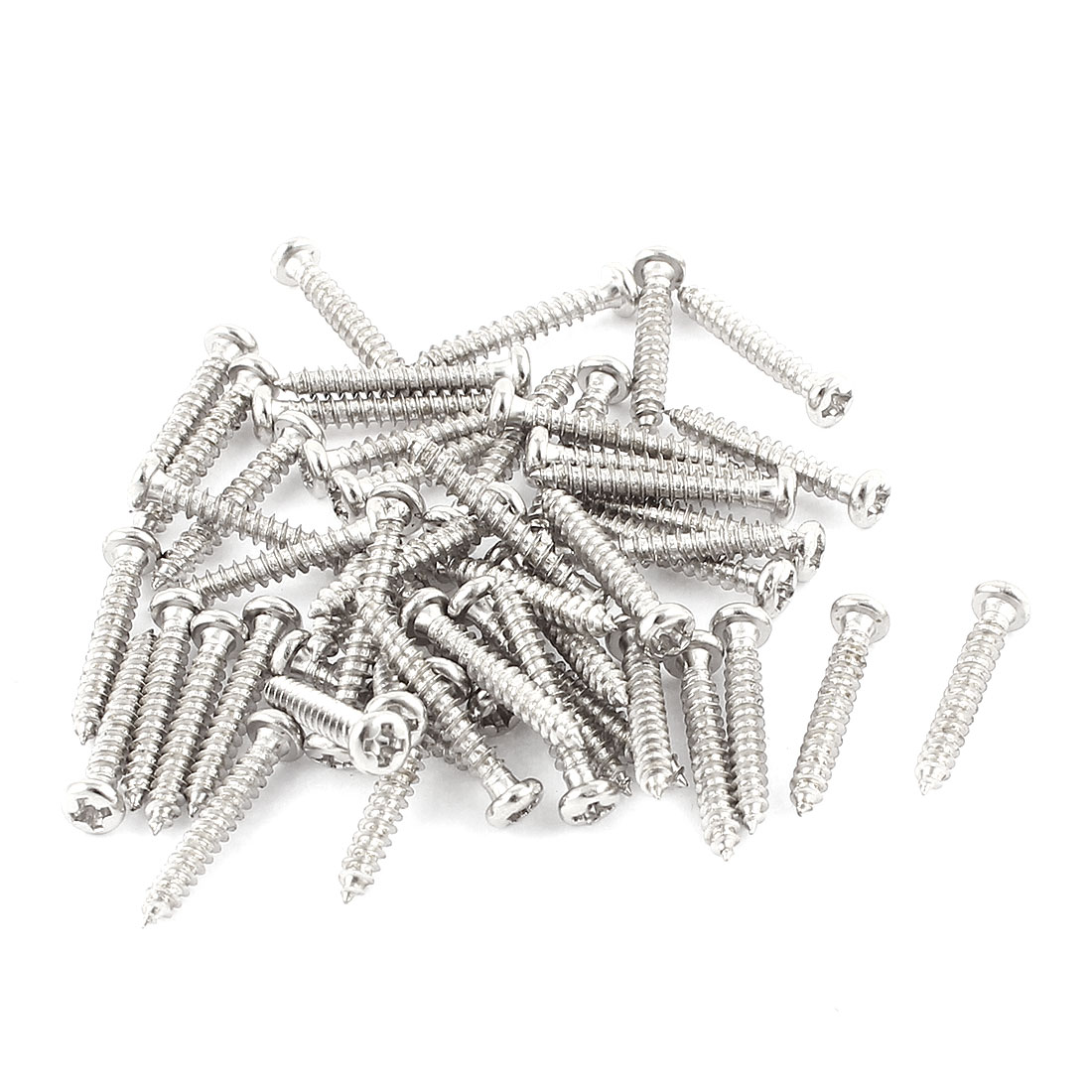 50 Pcs M2x14mm Stainless Steel Phillips Round Head Self Tapping Screws Bolts