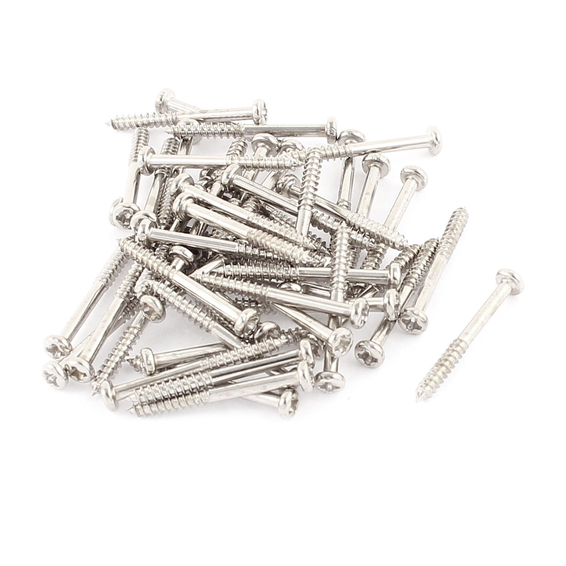 50 Pcs M2x20mm Stainless Steel Phillips Round Head Self Tapping Screws Bolts