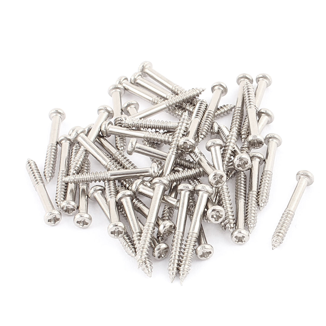 50 Pcs M2x18mm Stainless Steel Phillips Round Head Self Tapping Screws Bolts