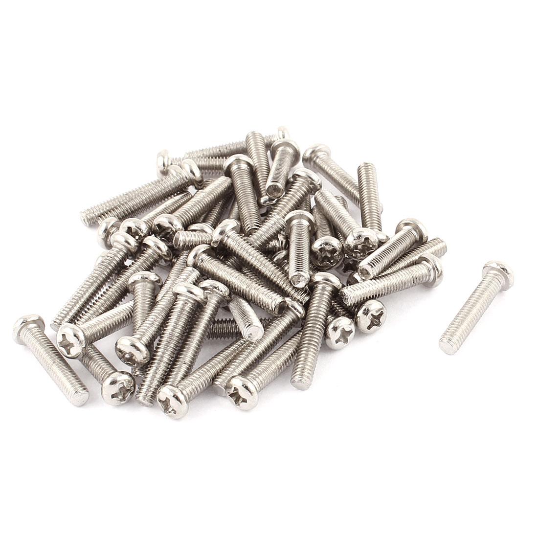 50 Pcs M4x20mm Stainless Steel Round Head Phillips Machine Screws Bolts