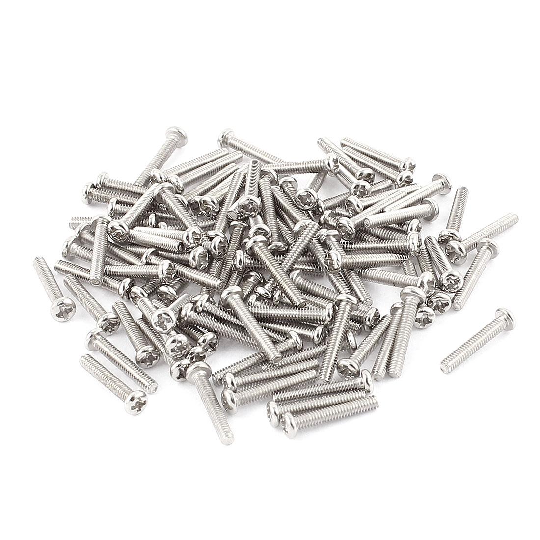 100 Pcs M2x12mm Stainless Steel Round Head Phillips Machine Screws Bolts