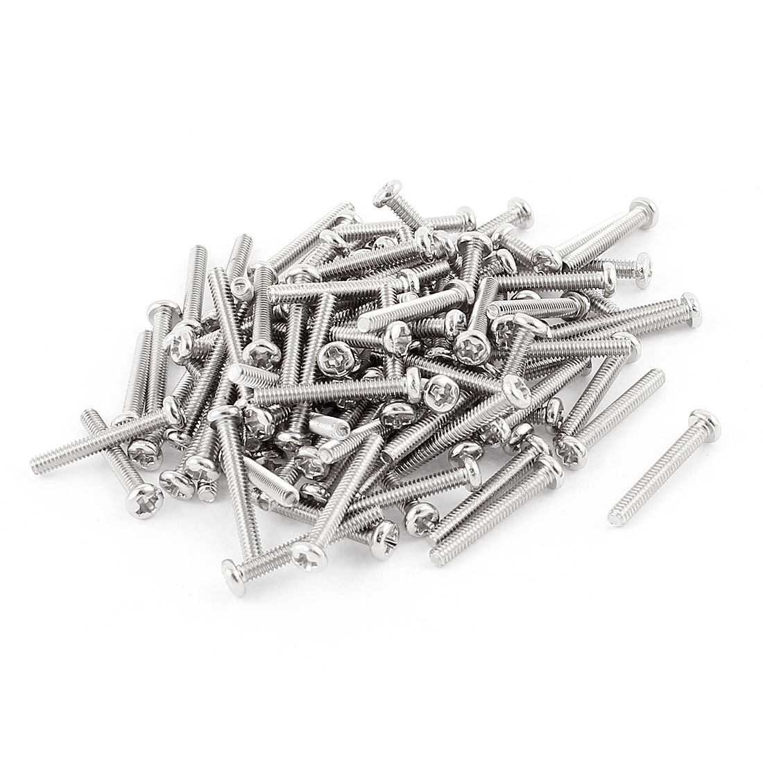 100 Pcs M2x14mm Stainless Steel Round Head Phillips Machine Screws Bolts