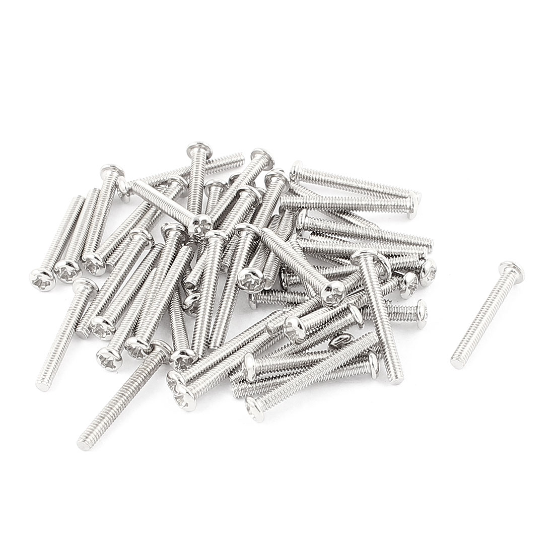 50 Pcs M2x16mm Stainless Steel Round Head Phillips Machine Screws Bolts