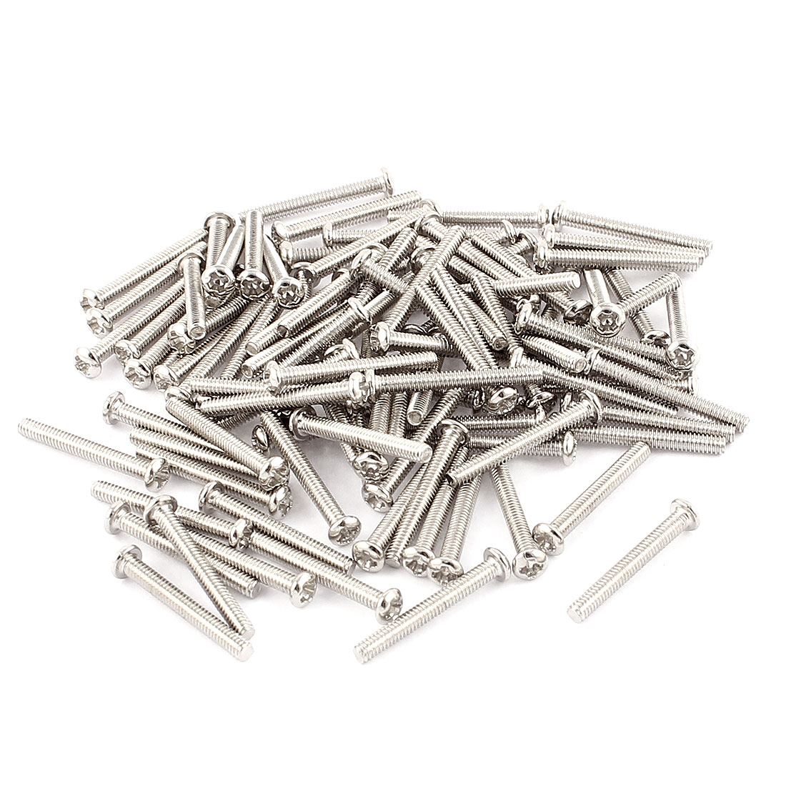 100 Pcs M2x16mm Stainless Steel Round Head Phillips Machine Screws Bolts