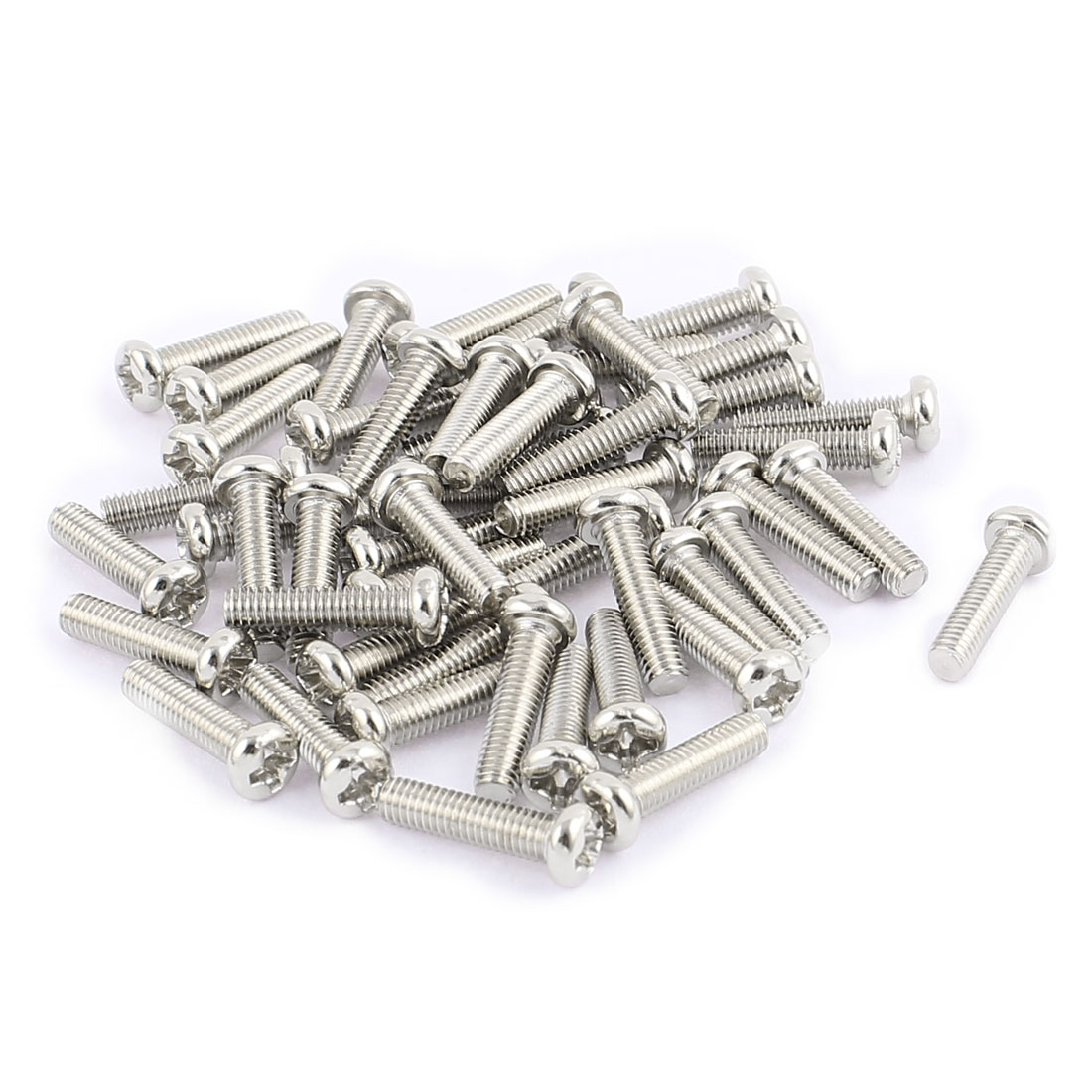 50 Pcs M3x12mm Stainless Steel Round Head Phillips Machine Screws Bolts
