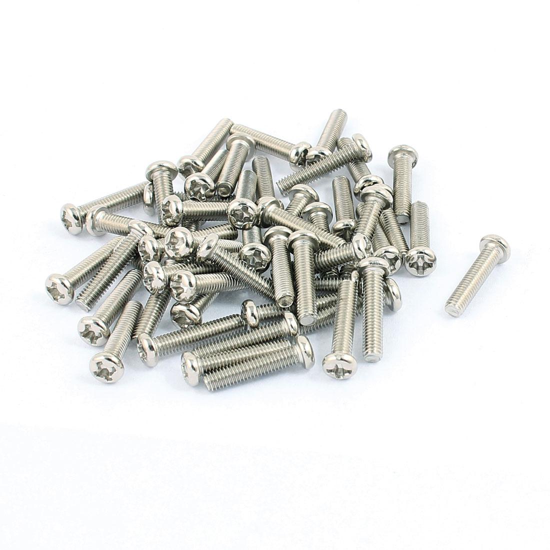 50 Pcs M3x14mm Stainless Steel Round Head Phillips Machine Screws Bolts