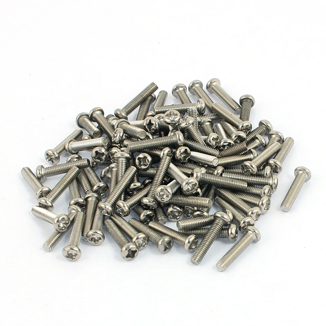 100 Pcs M3x14mm Stainless Steel Round Head Phillips Machine Screws Bolts