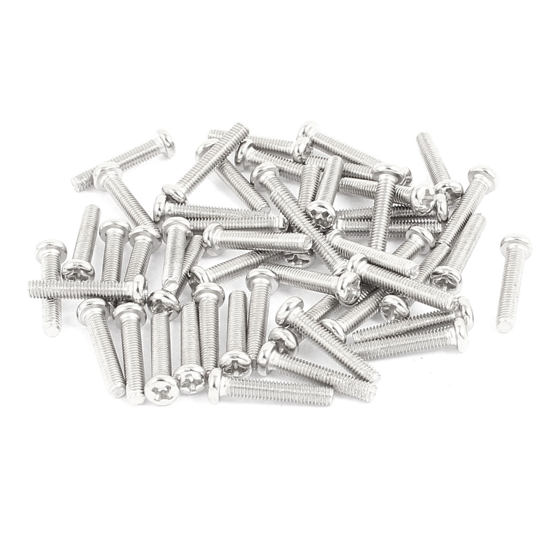 50 Pcs M3x16mm Stainless Steel Round Head Phillips Machine Screws Bolts