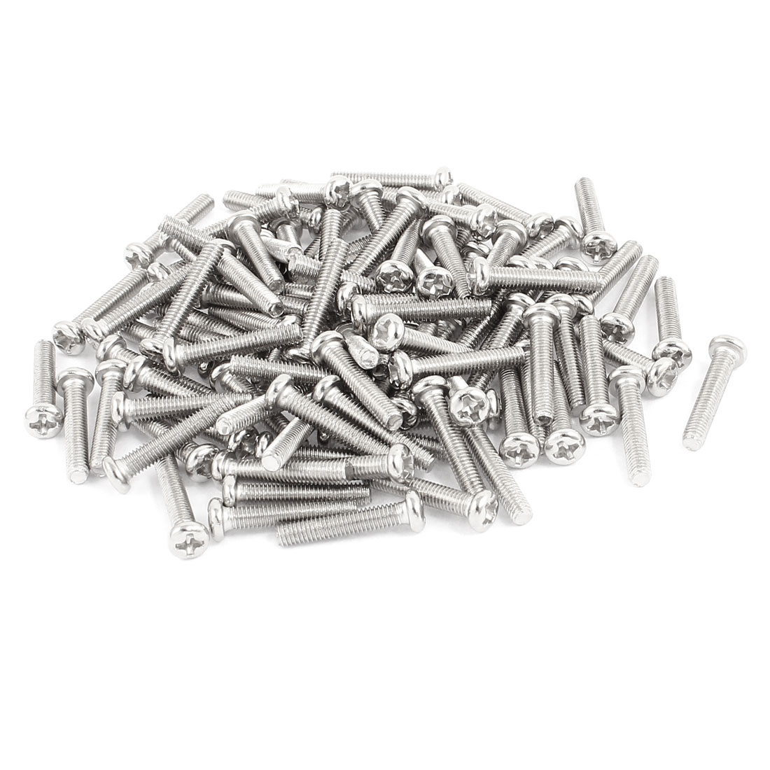 100 Pcs M3x16mm Stainless Steel Round Head Phillips Machine Screws Bolts