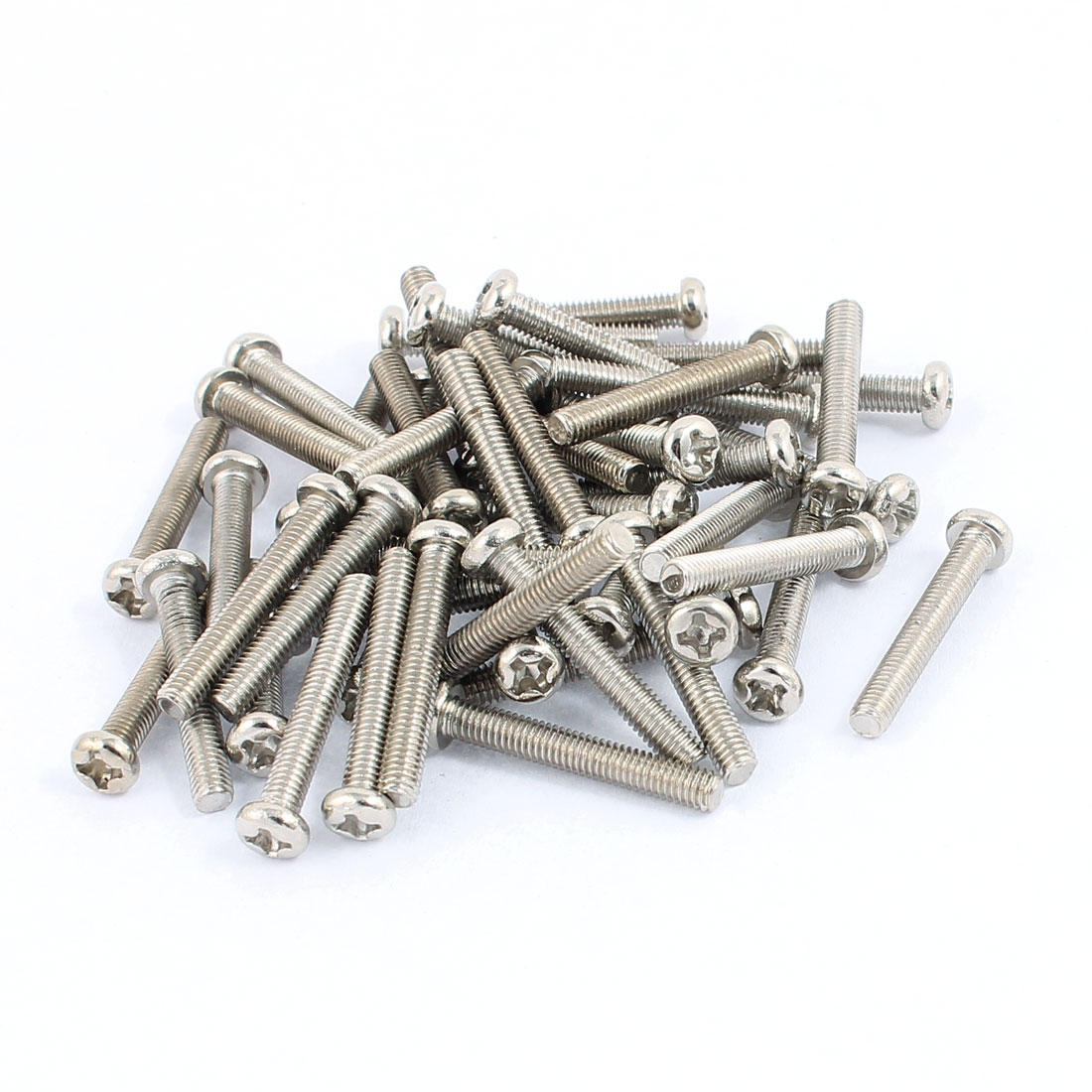 50 Pcs M3x20mm Stainless Steel Round Head Phillips Machine Screws Bolts