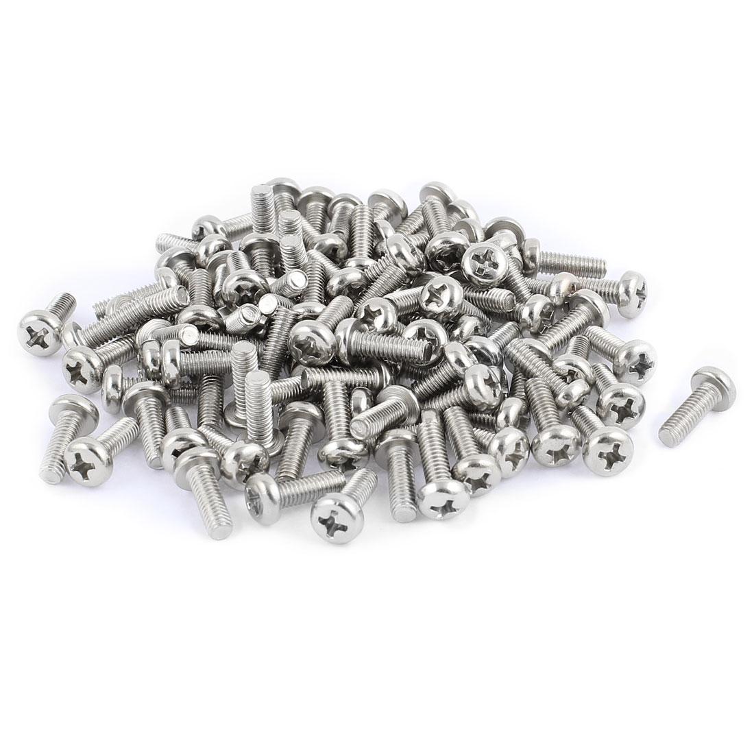 100 Pcs M4x12mm Stainless Steel Round Head Phillips Machine Screws Bolts