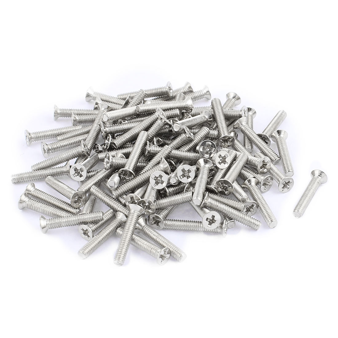 100 Pcs M2.5x14mm Stainless Steel Countersunk Flat Head Phillips Machine Screws Bolts