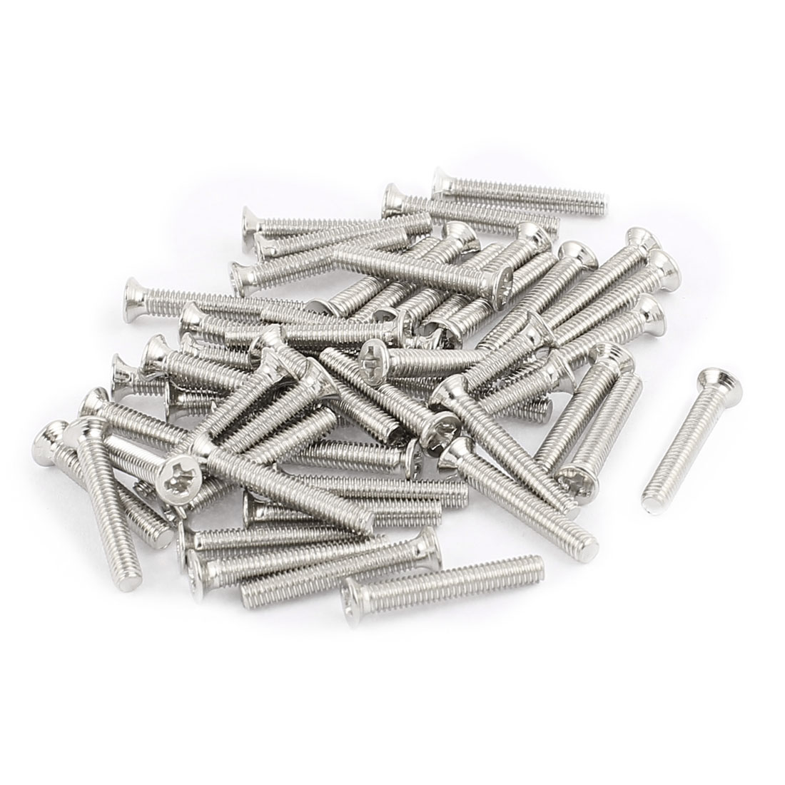 50 Pcs M2.5x16mm Stainless Steel Countersunk Flat Head Phillips Machine Screws Bolts