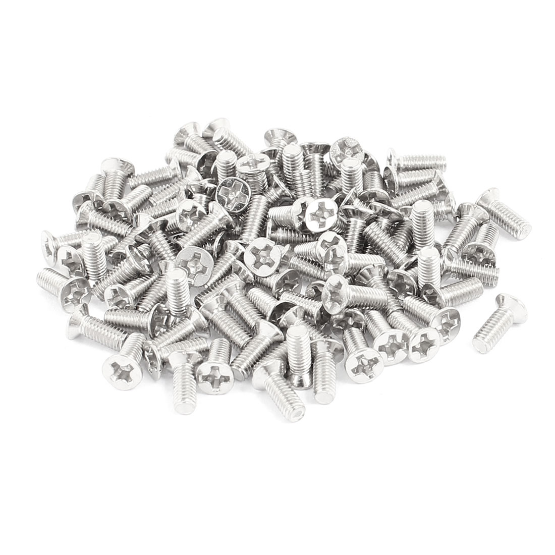 100 Pcs M3x8mm Stainless Steel Countersunk Flat Head Phillips Machine Screws Bolts