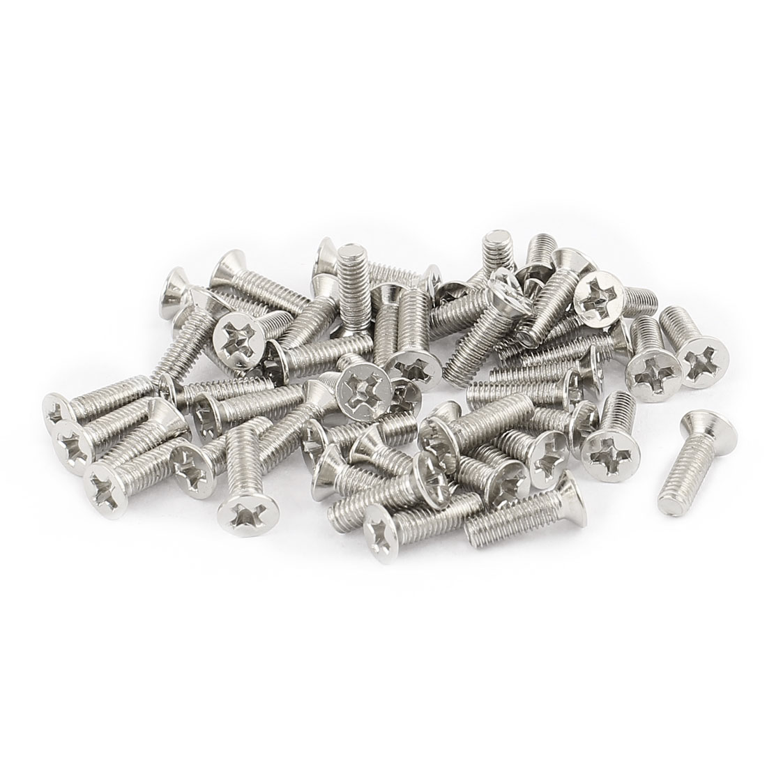 50 Pcs M3x10mm Stainless Steel Countersunk Flat Head Phillips Machine Screws Bolts
