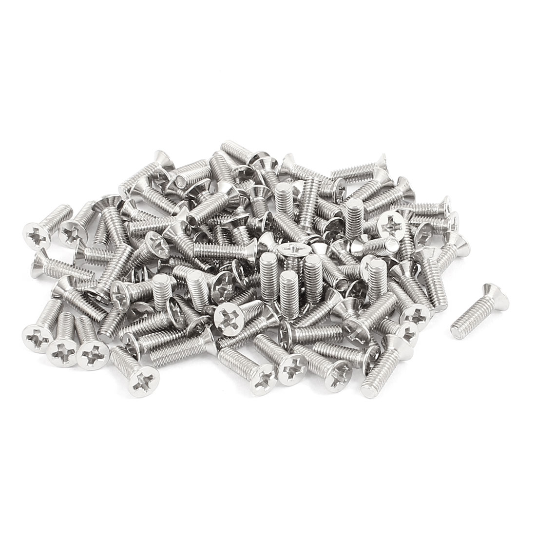 100 Pcs M3x10mm Stainless Steel Countersunk Flat Head Phillips Machine Screws Bolts