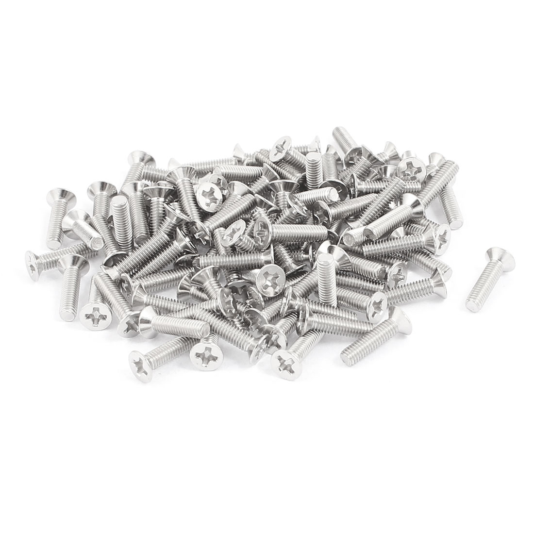 100 Pcs M3x12mm Stainless Steel Countersunk Flat Head Phillips Machine Screws Bolts